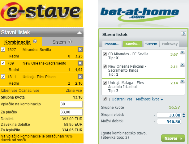 Primerjava stavncie E-stave in Bet-at-home